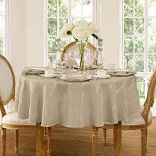 90 in round beige elrene elegance plaid damask fabric tablecloth