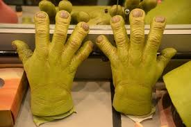 shrek s prosthetic ogre hands behind the scenes of shrek the al at the birmingham