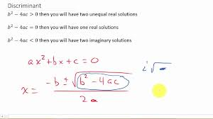 descriminant how to determine the number and types of solutions of a quadratic equation