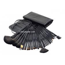 32 pcs professional makeup brushes set w black roll up leather case