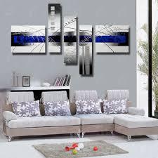 Blauw Kleur Frameloze Olieverf Mooie Abstracte Schilderen Moderne