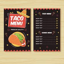 Free Food Menu Template Fascinating Taco menu Mexican food menu print template Vector Premium Download