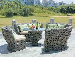 rattan garden furniture round table and