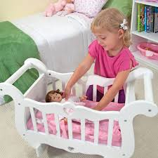 melissa doug white wooden doll crib with bedding kids pretend play accessories