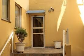 brown glass paned wooden door