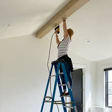 diy box beams pitched ceiling
