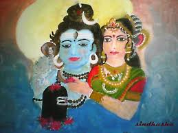 lord shiva and parvati oil painting