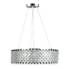 3 light crystal and chrome chandelier metal drum lattice n