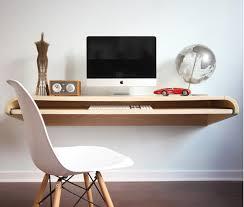 Minimal Float Wall Desk in Rift Oak at Rosenberry Rooms