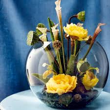 Glass Bowl Decoration Ideas Marvelous Picture Of DIY Unique Yellow Flower Centerpiece Along 27