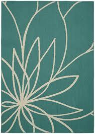 garland rug grand fl area rug 5 x 7 teal ivory b01bovm3i0
