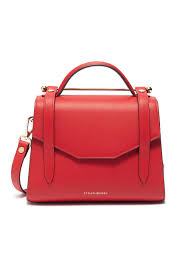 strathberry allegro mini leather satchel in ruby