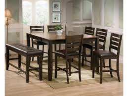 Elliott 8 Piece Counter Height Table And Chairs With Bench Set By Crown Mark At Dunk Bright Furniture