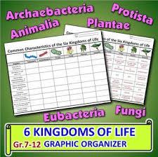 The Six Kingdoms Of Life Graphic Organizer Editable