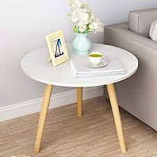 amazon round coffee table solid wood side table work table bedroom bedside living room sofa terrace match wood color color white home kitchen