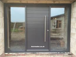 contemporary grey door and frame with side panels