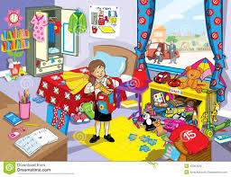 in her untidy bedroom