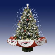 Live Tabletop Christmas Tree With Christmas Decorations And Lights