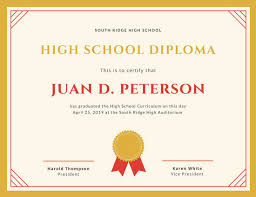 High School Diploma Certificate Fancy Design Templates Highschool Diploma Template Kadil Carpentersdaughter Co
