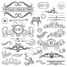 elegance old hand drawing set outline ornate swirl leaves label acanthus decor elements in vector big collection borders for book photo al or