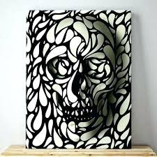 sugar skull wall art canvas and white pattern for black w