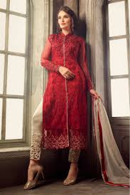 Red Net Dress Design Net Party Wear Pant Style In Red Colour Pakistani Dresses