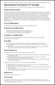 Sample Resume For Mechanical Technician