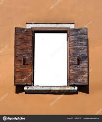 Holz Fenster Isoliert Schöne Alte Fensterrahmen Mit Braunen