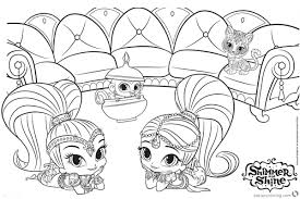 Shimmer And Shine Coloring Pages Lying On Their Stomach Free