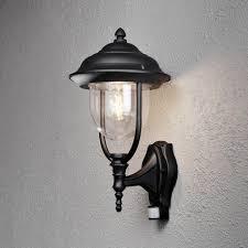parma single light upward outdoor wall lantern in black with pir sensor