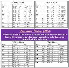 Ladies Skirt Size Chart Size Chart Sewing Patterns