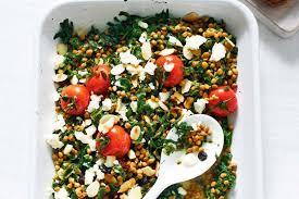 spinach lentil and feta bruschetta