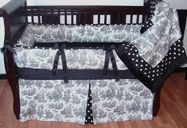 white black toile crib set larger image