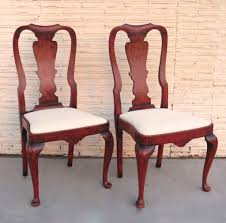 Pair of Queen Anne Style Chairs Red Paint from blacktulip on Ruby Lane