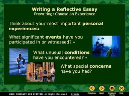 writing workshop writing a reflective essay assignment prewriting  think about your most important personal experiences writing a reflective essay prewriting choose an
