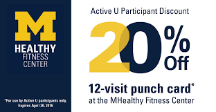Discount Punch Card Mhealthy Fitness Center Offers Discount For Active U Participants