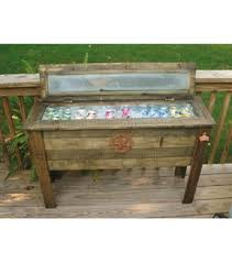 rustic wooden patio cooler 87 qt