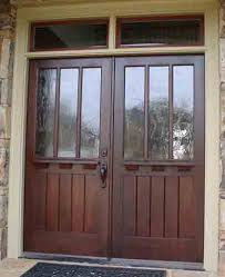 craftsman style front doorsCustom craftsman style double entry door with transom This is