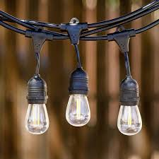 com low e led outdoor string lights weatherproof commercial grade 15 hanging sockets 18 2 watt dimmable led bulbs 3 extra 10 ft ext