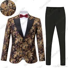 Wedding Court Design Autumn Style Suits Wedding Mens Italian Suits And Pants For Men Luxury Court Design Golden Floral Jacquard Groom Suit Tuxedos Online Wedding Suit