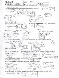 algebra 2 worksheets answers