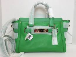 coach 34408 swagger carryall green pebble leather satchel tote bag purse