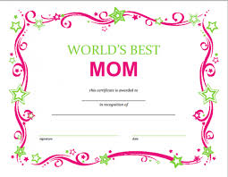 Free Mothers Day Printable Certificate Templates Mother Day