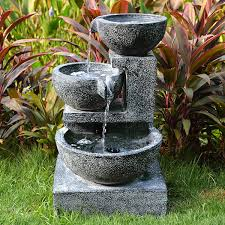 Medium Granite 3 Bowl Water Feature  Water Features 2 GoSolar Powered Water Feature With Lights