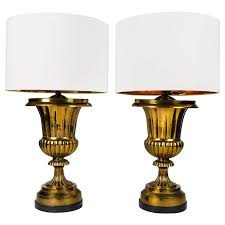 vintage pair of solid brass task or table lamps for