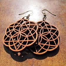 amazon eclipse wooden earrings 0g seed of life merkaba star sacred geometry jewelry handmade