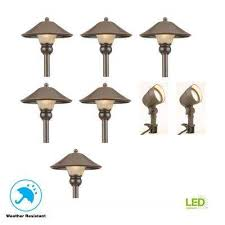 low voltage bronze outdoor integrated led landscape path light and flood light kit 8