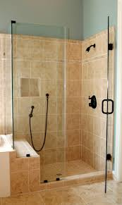 shower stalls with seats. Bathroom. Corner Glass Shower Enclosure With Black Door Handle And Set Brown Stalls Seats