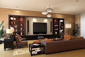 large family room wall decorating ideas with brown sectional sofa and pendant lamp and also using recessed lights