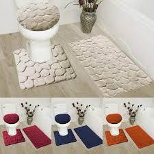 3piece set velvet memory foam bathroom countour mat bath rug lid cover rock